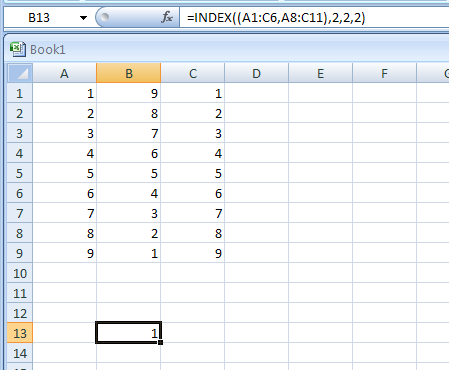 =INDEX((A1:C6,A8:C11),2,2,2) gets the intersection of the second row and second column in the second area of A8:C11
