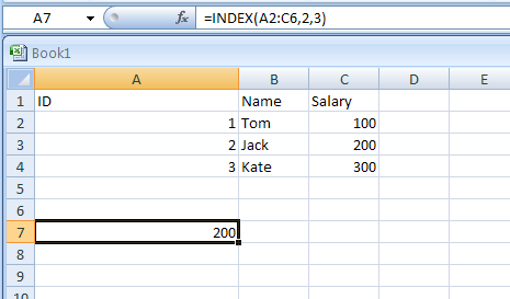 Input the formula: =INDEX(A2:C6,2,3)