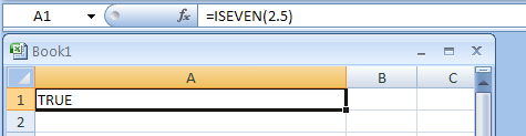 =ISEVEN(2.5) checks whether 2.5 is even