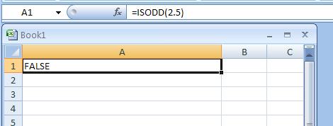 =ISODD(2.5) checks whether 2.5 is odd