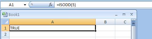 =ISODD(5) checks whether 5 is odd