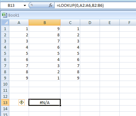 =LOOKUP(0,A2:A6,B2:B6) looks up 0 in column A, and returns an error because 0 is less than the smallest value