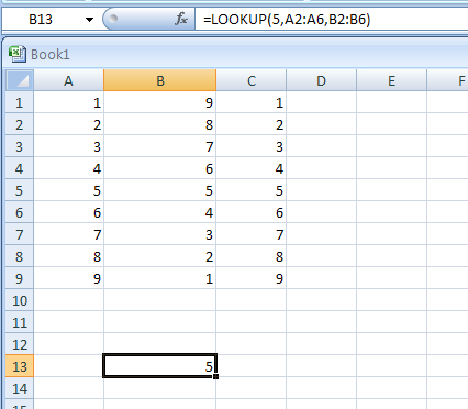 =LOOKUP(5,A2:A6,B2:B6) looks up 5 in column A, matches the next smallest value (3), and returns the value from column B that's in the same row