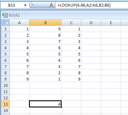 =LOOKUP(6.66,A2:A6,B2:B6) looks up 6.66 in column A, matches the next smallest value, and returns the value from column B that's in the same row