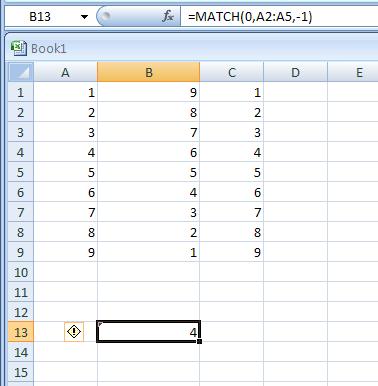 =MATCH(0,A2:A5,-1)