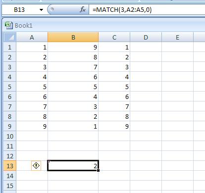 =MATCH(8,A2:A5,0)