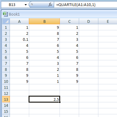 =QUARTILE(A1:A10,1) returns the value at the 25th percentile