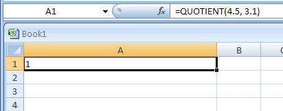 =QUOTIENT(4.5, 3.1)