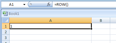 =ROW() returns the row number in which the formula appears