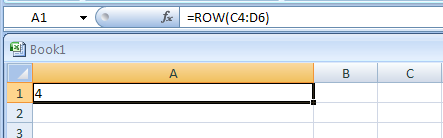 Input the formula: =ROW(C4:D6)