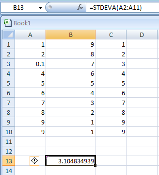 =STDEVA(A2:A11) calculates standard deviation based on the entire population