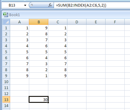 Input the formula: =SUM(B2:INDEX(A2:C6,5,2))