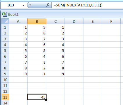 =SUM(INDEX(A1:C11,0,3,1)) returns the sum of the third column in the first area of the range A1:C11