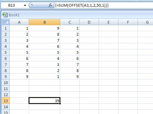 =SUM(OFFSET (A3,1,2,50,1)).