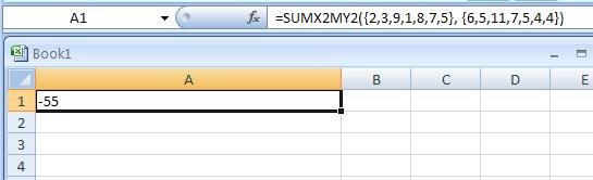 =SUMX2MY2({2, 3, 9, 1, 8, 7, 5}, {6, 5, 11, 7, 5, 4, 4})