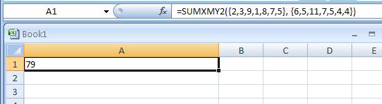 =SUMXMY2({2, 3, 9, 1, 8, 7, 5}, {6, 5, 11, 7, 5, 4, 4})