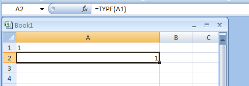 =TYPE(A1) checks the type of the value above
