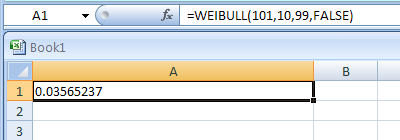 Input the formula: =WEIBULL(101,10,99,FALSE)