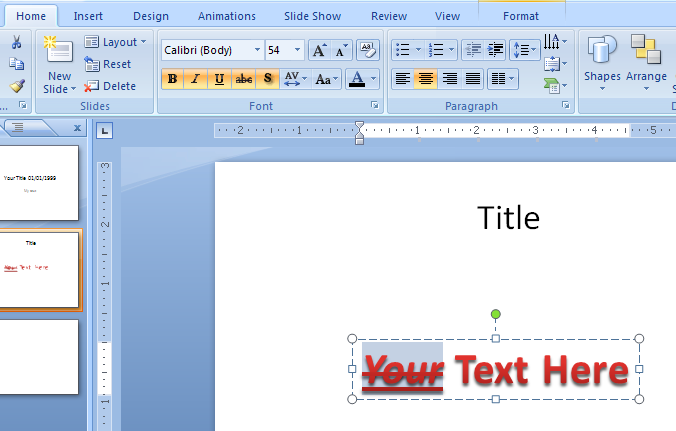 Add formatting to WordArt text