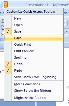 Add or Remove a common button from the Quick Access Toolbar