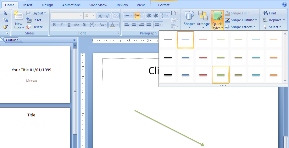 Drawing Lines In Microsoft Word : Add a quick style to line arrow « wordart picture