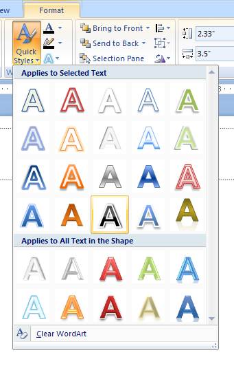 Click the shapes with the text. Click the Format tab under Drawing Tools. Click the WordArt Styles group to see additional styles.