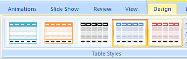 Click the table. Click the Design tab under Table Tools. Click the Table Styles.