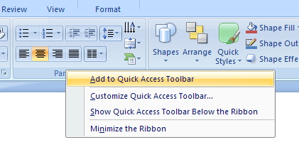 Add a Ribbon button or group to the Quick Access Toolbar