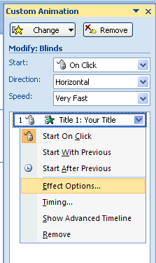In the Animation Order list, click the list arrow of the animation to add a sound, and then click Effect Options.