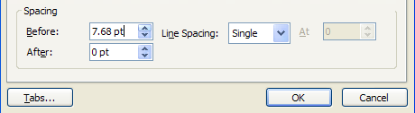 Click the Before Spacing or After Spacing up or down arrows to specify a setting.