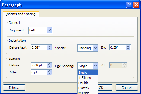 Click the Line Spacing list arrow, and then select a setting.