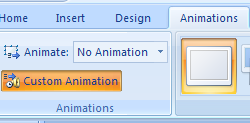 Click the Animations tab, and then click the Custom Animation button.