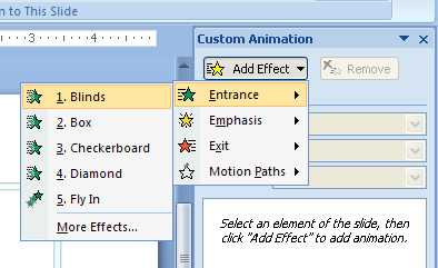 Click Add Effect, point to a category, and then choose an effect from the animation list.