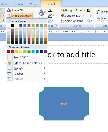 Click the Shape Outline button. Select the outline color.