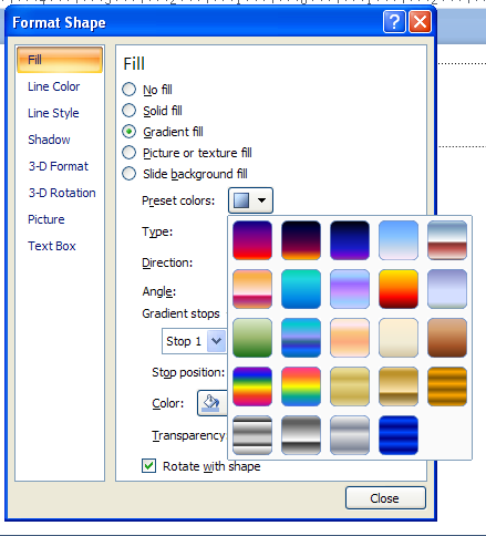 Click the Preset colors button arrow, and then select the built-in gradient fill.