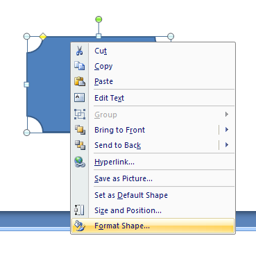 Right-click the shape, and then click Format Shape.