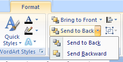 Click the Send to Back: Send to Back / Send Backward to move a drawing to the bottom.