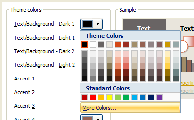 Click a new color, or click More Colors to select a color from the Standard or Custom tab, and then click OK.