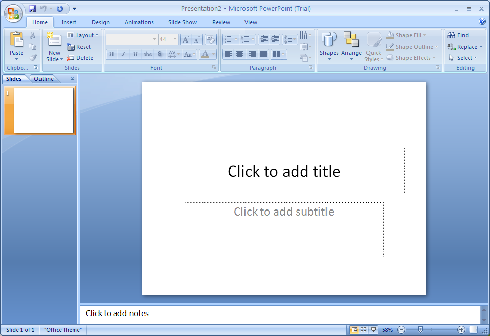 How to write in a blank slide in powerpoint 2007