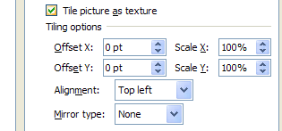 To tile the background, select the Tile picture as texture check box, and then specify the offset x and y, scale x and y, alignment, and mirror type.