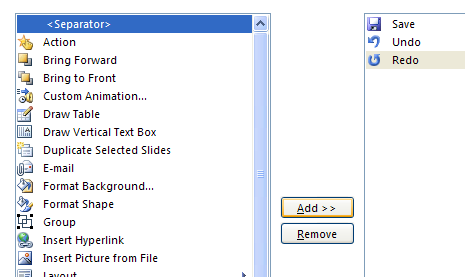 Click Separator, and then click Add to insert a separator line between buttons.