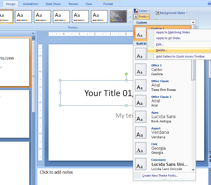Delete a custom theme effects or fonts