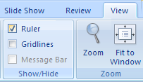 In Normal view, click the View tab. Select the Ruler check box to display it, or clear the Ruler check box to hide it.