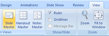 Click the View tab, click the Slide Master button, and then select the slide master.