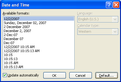 To change the default date and time format, click Default, and then click Yes to confirm.