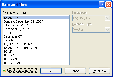 To have the date and time automatically update, select the Update automatically check box.