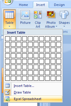 Click the Insert tab. Click the Table button, and then click Insert Excel Spreadsheet.