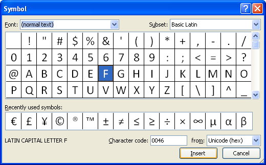 Insert Symbols and Special Characters : Symbols Special