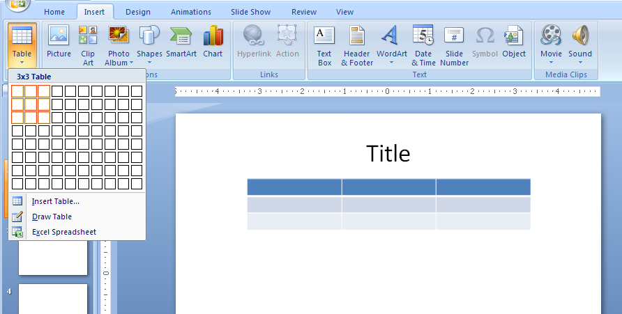 Insert and delete columns and rows table chart table microsoft office powerpoint 2007 tutorial - How to add a column in a table ...