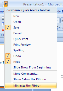 Click the Customize Quick Access Toolbar list arrow, and then click Minimize the Ribbon.